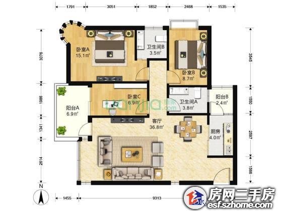 碧海云天安静三房,全新装修,看房方便,诚心卖,看现房